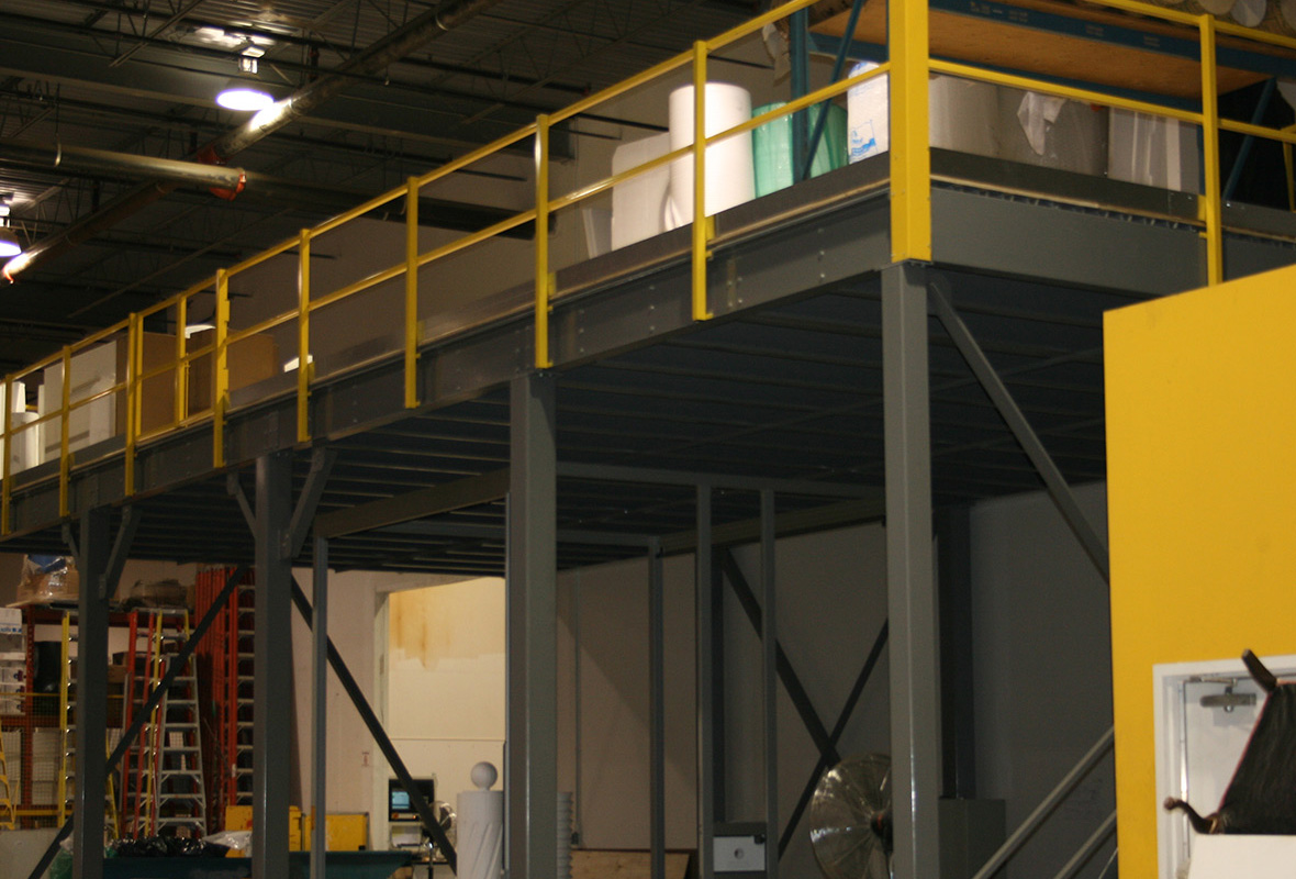 Arc Force mezzanines are the strongest industrial mezzanines on the market. Buy a custom steel mezzanine and increase your warehouse storage space.  Custom steel mezanines save you money.